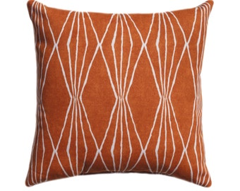 15 Sizes Available, Sweet Potato Orange Pillow, Diamonds Pillow, Geometric Decorative Zipper Pillow Cover, Burnt Orange Cushion, 26x26 Sham
