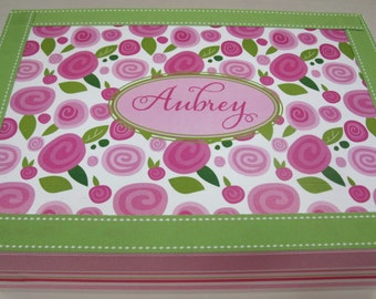 Girl Keepsake Box/ Baptism or Christening - Pink and Green Flowers