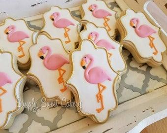 36 flamingo cookies