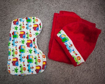 Red Hooded Towel with Matching Burp Cloths