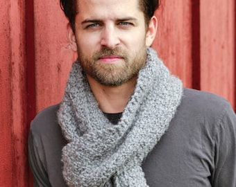 Super Chunky Wool Scarf, knitted neck warmer, grey blue and many other colours