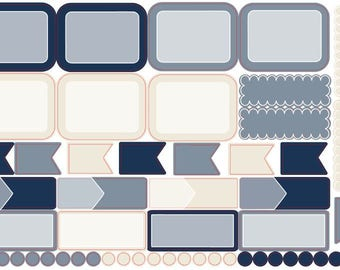 Mini Planner Sticker Kit - Color Theme coordinates with In the Bleak Mid-Winter - Navy, Cream and Gray   EC & HP