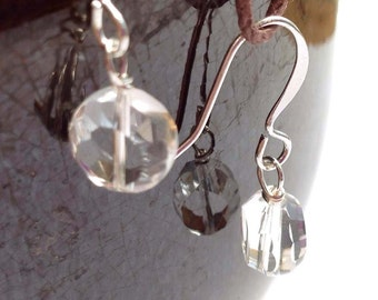 Faceted Crystal Clear Quartz Simple Silver Dangle Earrings