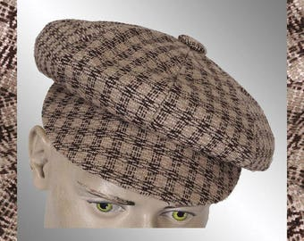 Vintage Tweed Newsboy Cap - Small