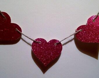 Heart Glitter Banner - love, sparkly, Valentines Day, baby shower, engagement, wedding, garland, bunting