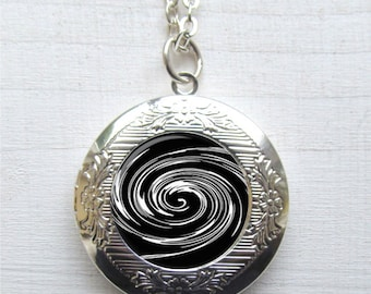 Photo Locket Necklace, Black and White Spiral, Abstract Jewelry