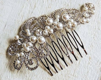 Diamante & Pearl Filigree Vintage Luxury Hair Comb - Sparkling - Highest Quality - Wedding Accessories