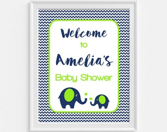 Elephant Baby Shower Welcome Sign, Personalized Baby Shower Sign, Navy & Lime Green, Custom Made, DIY PRINTABLE