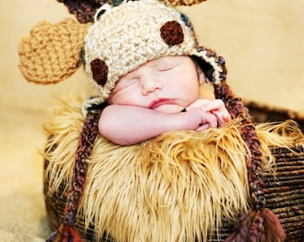 Baby Hats - Moose Hat - Customize your Size - Baby to Toddler Sizes Moose Hat - Moose Halloween Costume Hat -  by JoJosBootique