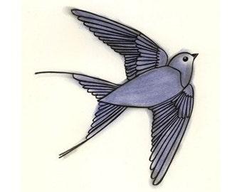 Bird art - 4 for 3 SALE The Blue Bird of Happiness  (5.8 X 8.3 print)