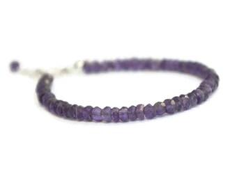 Purple gemstone bracelet, genuine amethyst bracelet, sterling amethyst bracelet, February birthstone