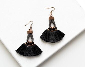 Fringe Earrings for Women, Black Fringe Earrings, Tassel Earrings, Gift For Girlfriend, Gift Inspiration, Valentines Gift Earrings