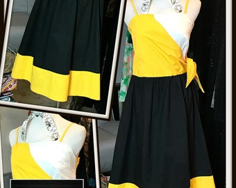 Vintage Yellow Black White Color Block Pocket Side Tie Dress 1970s FREE SHIPPING Colorblock Cotton