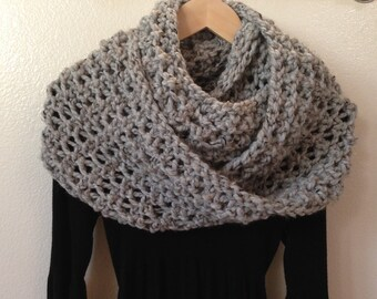 """Chunky Knit Scarf, Knit Infinity Scarf, Oversized Knit Scarf, 9""""x58"""", Winter Scarf, Chunky Knit Cowl, Loop Scarf, Knit Snood, Gift for Her"""
