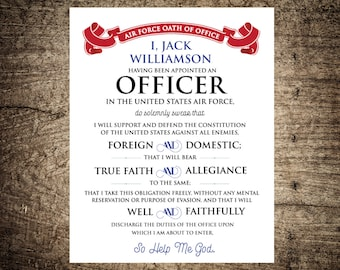 Military Officer's Oath of Office - Allegiance Oath - Air Force - Military Gift