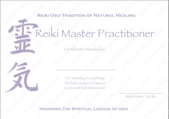 reiki level 1 certificate template - personalised complete set reiki certificate templates x4