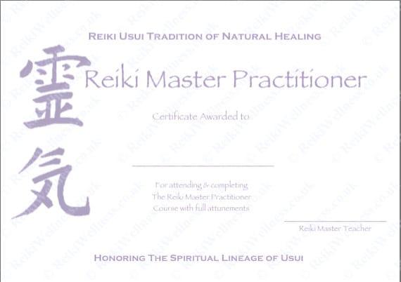 Personalised complete set reiki certificate templates x4 for Reiki level 1 certificate template