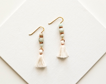 Amazonite Earrings, White Tassel Earrings, Bridal Jewelry, Shoulder Duster Earrings, Fringe Earrings, Pompom Earrings, Tassle Jewelry