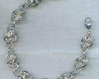 Knotted Link Bracelet in Argentium Sterling Silver