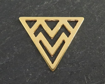 Gold over 925 Sterling Silver Triangle Component 14mm