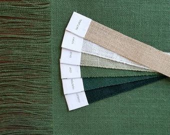"""12"""" - 14"""" wide Premium GREEN Burlap Runner with 6"""" Fringe - Available in 10 shades of GREEN"""