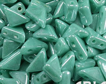 GREEN TURQUOISE LUSTER: 6x6mm Tango Two-Hole Triangle Czech Glass Beads (10 grams)