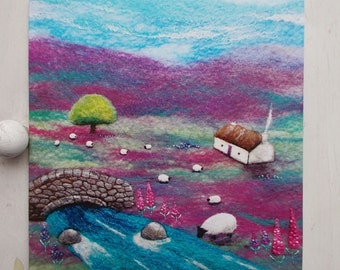 Sipping By The Stream Card Printed Scottish Greetings  Sheep Cottage Bridge