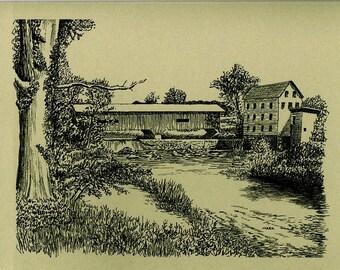 Indiana Note Cards - Indiana Bridgeton Bridge Artwork – Bridgeton Bridge Note Sale.