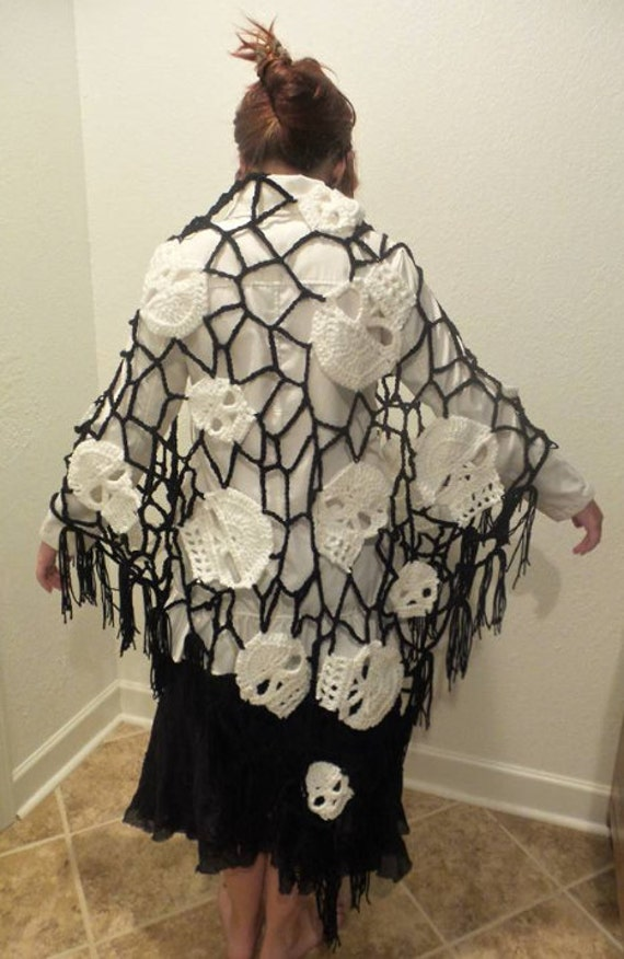 Skull Shawl Crochet Shawl Halloween Shawl Hand Crafted