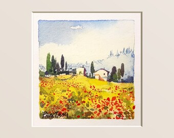 Tuscany, poppies, landscape, tuscan picture, home decor