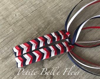 80s Ribbon Barrette | Retro Braided Barrette Set | 80s Preppy Barrettes | Grosgrain Ribbon Barrettes | Red White Blue Barrettes