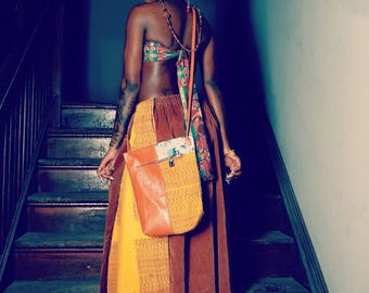 Petite corduroy screenprinted Afrocentric long a line skirt
