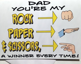 Birthday Card for Dad - Rock-Paper-Scissors Birthday Card - Man's Birthday Card - Rock-Paper-Scissors Card