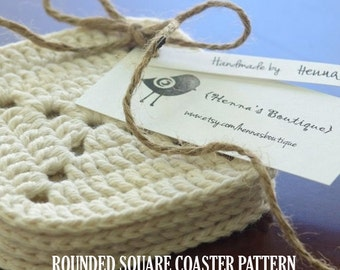 Crochet Coaster Pattern - Rounded Square Coasters - PDF