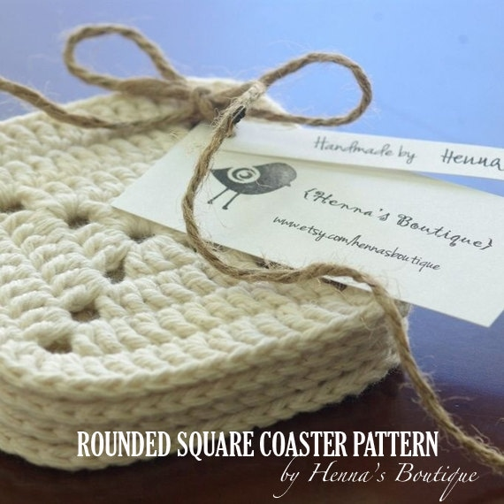 Crochet Coaster Pattern Rounded Square Coasters Pdf From