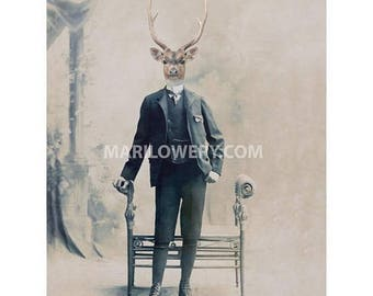 Deer Art Print, Animal in Suit, Mixed Media Collage 5 x 7 Inch Print, Masculine Wall Art, Animal Wall Art, Man Cave Decor, frighten