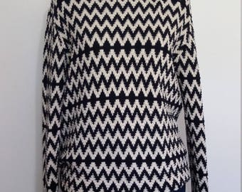 Abstract sweater, M, L, zig zag sweater, black white sweater, cotton sweater, black sweater
