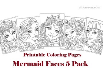 Set of 5 coloring pages - Mermaid Faces 5 Pack Instant Download Printable Files