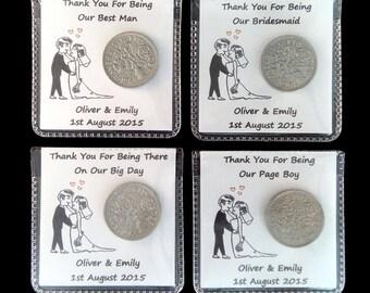 Lucky Sixpence Personalised Wedding Favour Gift Keepsake