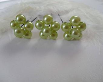 3 hair flowers lime pearls bridal hair pins
