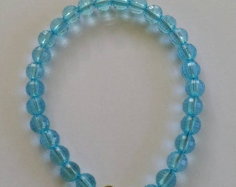 Beaded bracelet, acrylic beads, light blue beads, bracelet with lobster clasp