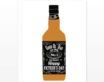 Funny Whiskey Father's Day Card - Jack Daniels Dad - Whisky Card for Dad, Card for Father's Day