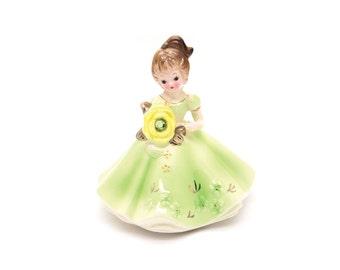 Vintage Josef Originals Ceramic. Girl Birthday Figurine. Little girls room. Retro decor.