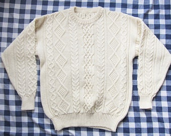 Large Cream Cable Knit Fisherman 100% Wool Sweater / Fisherman's Jumper, Pull Over