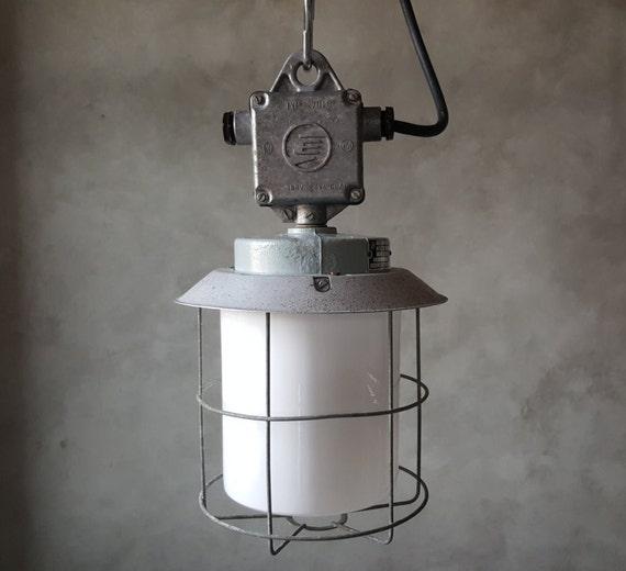 Vintage Industrial Shop Light: Vintage Industrial Light Rare Find Explosion Proof Glass