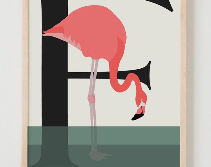 Animal Alphabet, F is for Flamingo Fine Art Print