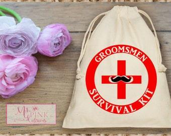 Groomsmen Survival Kit  Muslin  Bag - Mini Favor bag - - Recovery-Hangoverkit-Bridal shower -Groomsmen gifts-Bachelor Favor bag