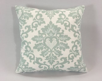Snowy Blue Damask Pillow Cover - Cecilia Snowy Print - Decorative Pale Blue / Grey Throw Pillow - Accent Pillow -Hidden Zipper -Custom Sizes