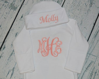 Monogrammed Baby Gown and Cap Layette set, Personalized Newborn Coming Home outift