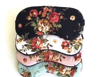 Sale- Vintage Rose Sleep Mask for Women Girls Slumber Party Mask Travel SleepMask Bachelorette Party Mask.